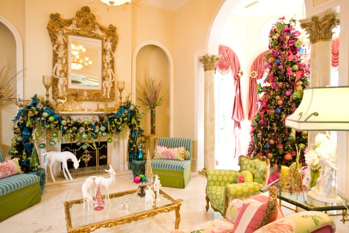 Suzy-q-better-decorating-bible-blog-Christmas-décor-pink-green-blue-tree-ribbon-mantel-bows-ornaments-tobi-fairley-holiday-fuchsia-shades-hues-bright
