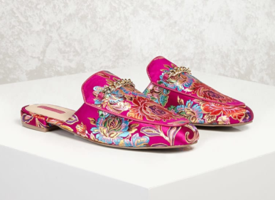 Brocade Floral Loafer Mules