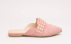 Embellished Story Faux Pearl Mule Flats-2