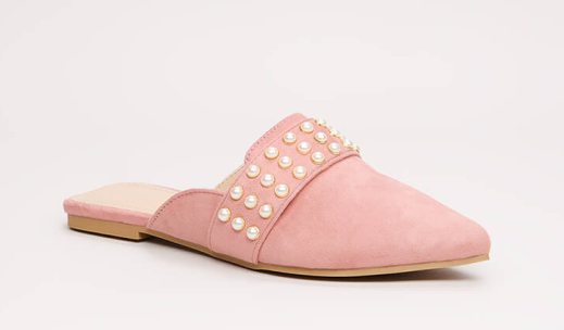 Embellished Story Faux Pearl Mule Flats