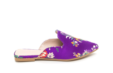 Floral Energy Pointy Satin Mule Flats-2